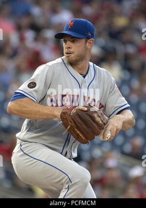 Washington, District of Columbia, USA. 31st July, 2018. New York Mets starting pitcher Steven Matz (32) pitches in the first inning against the Washington Nationals at Nationals Park in Washington, DC on Tuesday, July 31, 2018.Credit: Ron Sachs/CNP. Credit: Ron Sachs/CNP/ZUMA Wire/Alamy Live News - Stock Photo