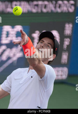 Washington DC, USA. 1st Aug 2018. Andy Murray (GBR) defeated Kyle Edmund (GBR) 3-6, 6-4, 7-5, at the CitiOpen being played at Rock Creek Park Tennis Center in Washington, DC, . © Leslie Billman/Tennisclix/CSM Credit: Cal Sport Media/Alamy Live News - Stock Photo