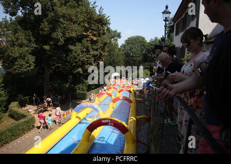 Basel, Switzerland. 1st Aug 2018. People at the Slide my city event on National Swiss Day in Basel Switzerland Credit: Gari Wyn Williams/Alamy Live News - Stock Photo