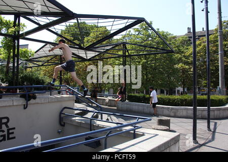 Basel, Switzerland. 1st Aug 2018. Group of young people doing parkour activities in Basel Switzerland Credit: Gari Wyn Williams/Alamy Live News - Stock Photo