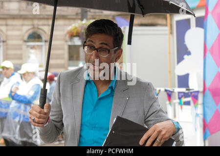 Glasgow, Scotland, UK. 1st August, 2018. Sanjeev Kohli at George Square, during the Glasgow 2018 European Championships' The Great Big Opening Party. Glasgow / Berlin 2018 runs between 2nd and 12th August, 2018. Iain McGuinness / Alamy Live News - Stock Photo