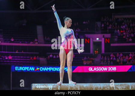 Glasgow, UK. 2nd August 2018. The first gymnastic competitions of the European ghampionships took place at the Hydro arena, Scottish exhibition centre with entrants from Denmark, Sweden, Cyprus, Bulgaria, Ireland, Georgia, Lithuania, Slovenia and the Czech Republic. Credit: Findlay/Alamy Live News - Stock Photo