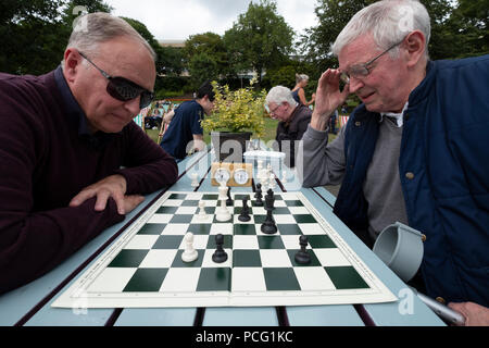 Edinburgh, Scotland, UK. 2 August, 2108. Public chess games in cafe in Princes Street Gardens. James Ferguson (L) and Dennis Anderson play chess on tables provided for the public and local chess clubs. They meet every Thursday and Sunday in summer. Credit: Iain Masterton/Alamy Live News - Stock Photo