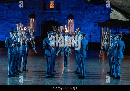 Edinburgh, UK. 2nd Aug 2018. The cast of the spectacular Royal Edinburgh Military Tattoo perform together in full dress on the Edinburgh Castle Esplanade. The Tattoo takes place from 3 August 2018 to 25 August 2018.  Pictured: The United States Air Force Honor Guard Drill Team Credit: Rich Dyson/Alamy Live News - Stock Photo