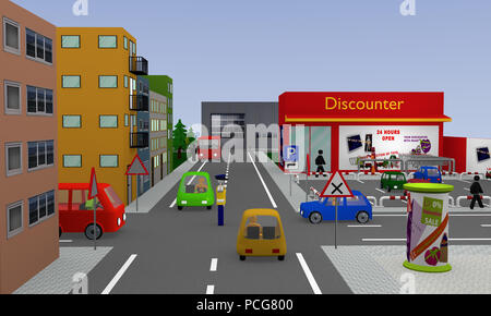 City view with discounter, parking, cars, street signs and policeman fixing the traffic. 3d rendering - Stock Photo