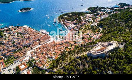 Aerial view of Hvar, Croatia - Stock Photo