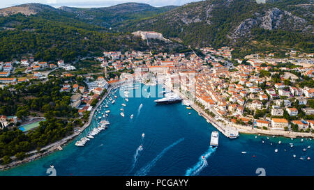 Aerial view of Hvar, Croatia - Stock Photo