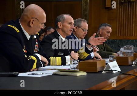 WASHINGTON (Jan. 28, 2015) Chief of Naval Operations (CNO) Adm. Jonathan Greenert, center left, testifies before the Senate Armed Services Committee. Greenert, along with other service chiefs, Chief of Staff of the Army Gen. Raymond T. Odierno, left; Chief of Staff of the Air Force Gen. Mark A. Welsh III, center right; and Commandant of the Marine Corps Gen. Joseph F. Dunford, Jr., testified on the impact of the Budget Control Act of 2011 and sequestration on national security. - Stock Photo