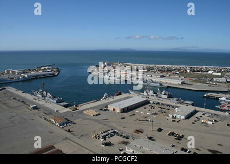 PORT HUENEME, Calif. (Nov. 13, 2012) An aerial view of the Southwest portion of the Naval Base Ventura County deep water port.  This port is the only deep water port between Los Angeles and San Francisco and serves a vital role in the region. - Stock Photo