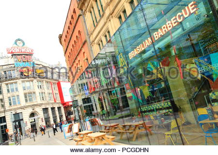 City life around the Printworks at Exchange Square Manchester UK. Summer August 2018 Evening - Stock Photo