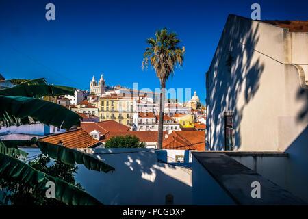 Lisbon. Alfama with view on church São Vicente - Stock Photo