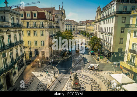 Lisbon. Chiado with Praca de Camoes in the background. - Stock Photo