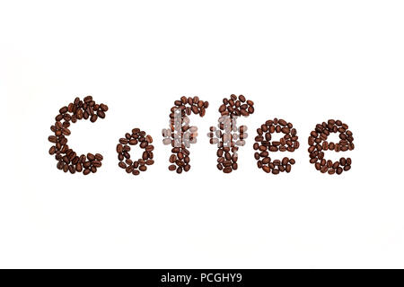 Letters from coffee beans spelling the word coffee - Stock Photo