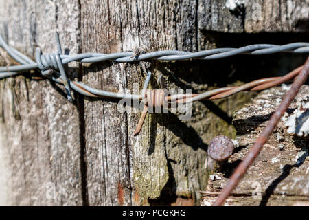 Close-up of barbed wire and nails in a weathered fence post at a pasture near Knoxville, Tennessee. - Stock Photo