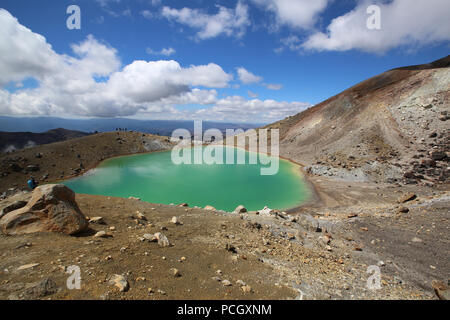 Along the Tongariro Alpine Crossing: Emerald Lakes - Stock Photo