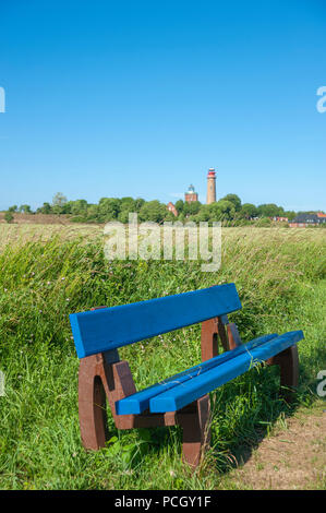 Bench with cornfield at Cape Arkona and Schinkelturm tower with the new lighthouse in the background, Putgarten, Rügen, Mecklenburg-Vorpommern, German - Stock Photo