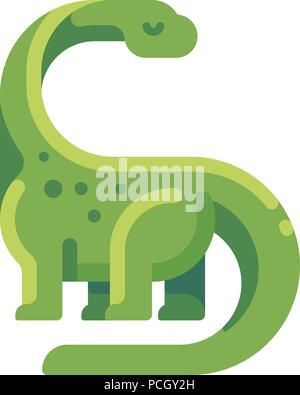 Green diplodocus flat icon. Long necked herbivorous dinosaur character illustration. - Stock Photo