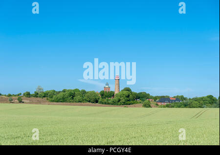 Landscape with cornfield at Cape Arkona with Schinkelturm tower and the new lighthouse in the background, Putgarten, Rügen, Mecklenburg-Vorpommern, Ge - Stock Photo