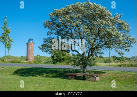 Landscape with former Marinepeilturm tower at Cape Arkona, Putgarten, Rügen, Mecklenburg-Vorpommern, Germany, Europe - Stock Photo