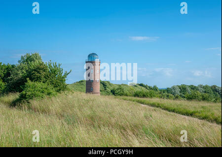 Former Marinepeilturm tower and slavic castle rampart at Cape Arkona, Putgarten, Rügen, Germany, Europe - Stock Photo