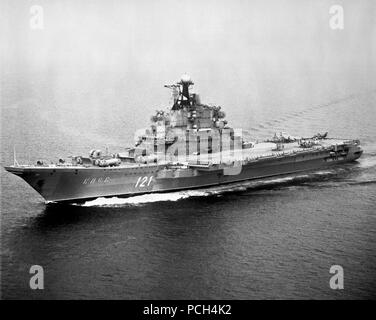 An aerial port bow view of the Soviet aircraft carrier KIEV underway. - Stock Photo