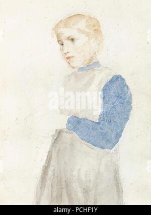 Albert Anker - Studie eines stehenden Mädchens (1908). - Stock Photo