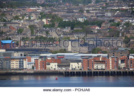 Distant view of waterfront apartments, Gallagher retail park and Hotel Indigo Dundee Scotland  May 2018 - Stock Photo