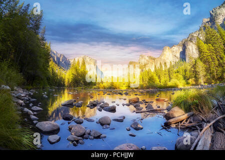 Yosemite Valley at sunset, California, USA. - Stock Photo