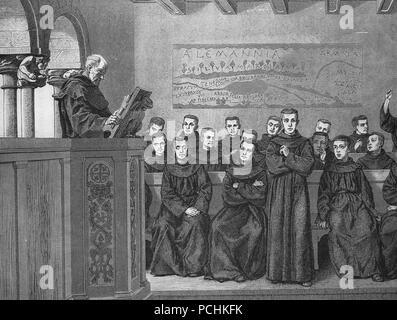 Carolingian age. Germany. Benedictine monastery. Convent school. Early Medieval. Engraving,  1882. - Stock Photo