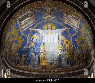Christ in Majesty is surrounded by the Virgin Mary, Joan of Arc and St. Michael, mosaic by Luc-Olivier Merson, Basilica of the Sacred Heart of Jesus i - Stock Photo
