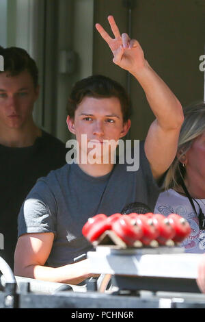 Tom Holland seen outside the film set for the new 'Spider Man, Far From Home ' - Hertfordshire  Featuring: Tom Holland Where: Hertfordshire, United Kingdom When: 02 Jul 2018 Credit: WENN.com - Stock Photo