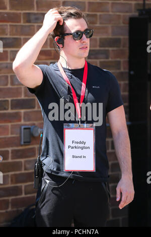 Tom Holland seen outside the film set for the new 'Spider Man, Far From Home ' - Hertfordshire  Featuring: Atmosphere Where: Hertfordshire, United Kingdom When: 02 Jul 2018 Credit: WENN.com - Stock Photo