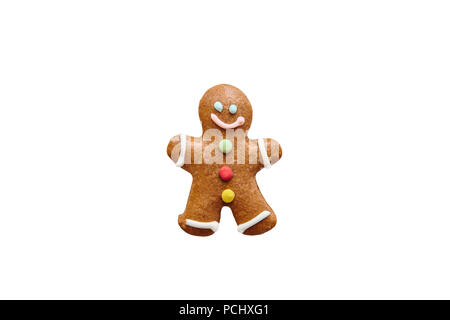 Traditional Christmas ginger cookies in the form of ginger little man isolated on white background or cut out. - Stock Photo