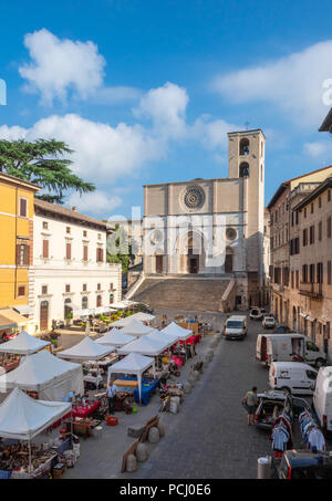 Todi (Umbria, Italy) - The suggestive medieval town of Umbria region, in a summer sunday morning. Here the historic center. - Stock Photo