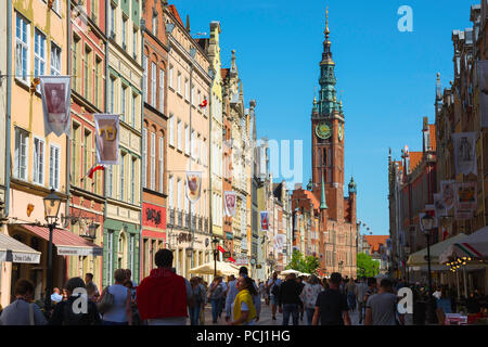 Gdansk Poland Street, view along the Royal Way - the main street in the center of Gdansk - looking towards the Town Hall tower, Pomerania, Poland. - Stock Photo