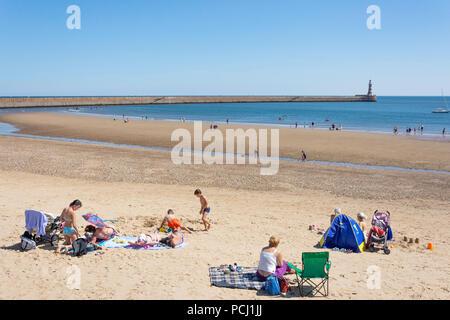 Roker Beach and Pier, Roker, Sunderland, Tyne and Wear, England, United Kingdom - Stock Photo