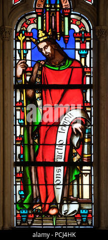 King Salomon, stained glass window from Saint Germain-l'Auxerrois church in Paris, France - Stock Photo
