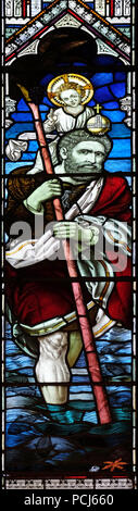 Saint Christopher, stained glass window in the American Cathedral Church of the Holy Trinity in Paris, France - Stock Photo