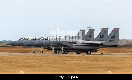 RAF Lakenheath, Suffolk, England on July 30 2018. United States Air Force F-15 Eagle jet aircraft - Stock Photo