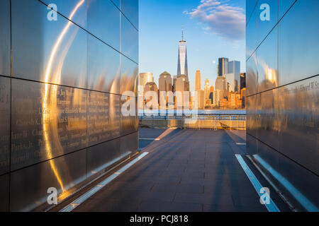 Empty Sky, September 11 memorial at sunset, Liberty State Park, New Jersey - Stock Photo