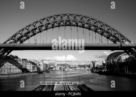 Tyne Bridge in Newcastle Gateshead over the Tyne River - Stock Photo