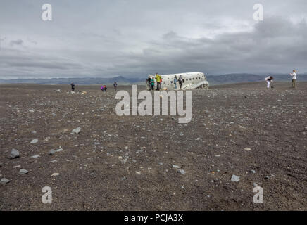 Vik, Iceland-June 11, 2018: In November 21, 1973 a US Navy Douglas R4D-8,  Super DC-3 crashed in the south of Iceland, due to heavy icing. It is a pop - Stock Photo