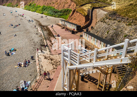 A splendid family beach, accessible both from Connaught Gardens and by walking along the shore from Sidmouth town. - Stock Photo