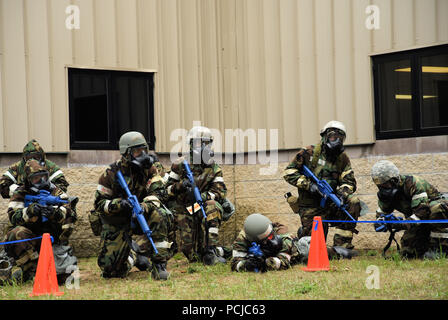 ALPENA, Mich.-- Airmen with the 127th Wing practice security measures during a portion of the Battle Lab training at the Alpena Combat Readiness Training Center (CRTC) on July 29, 2018. Battle Lab was created and executed by members of the 127th Civil Engineering Squadron. Ensuring troops know how to quickly don protective gear, take cover and secure their position in the event of a chemical, biological, radiological, nuclear or environmental (CBRNE) attack is integral to accomplishing the mission. (U.S. Air Force photo by Master Sgt. David Kujawa) - Stock Photo