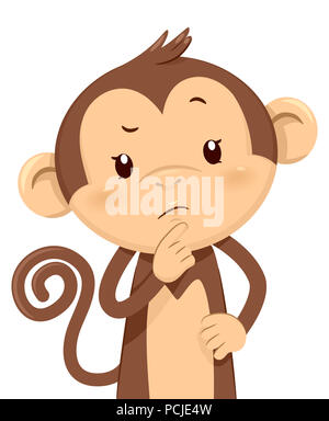 Illustration of a Monkey Mascot Looking Up to Its Left Thinking about Something - Stock Photo