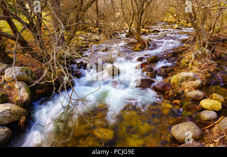 The Manzanares river crosses the La Pedriza park, located in the State of Madrid, Spain, integrated in the Parque Regional de la Cuenca Alta del Manza - Stock Photo