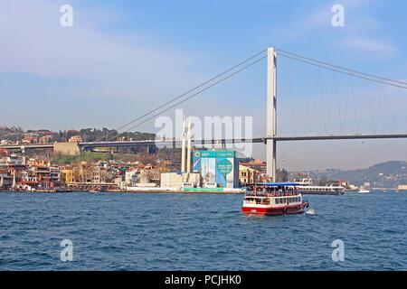 ISTANBUL, TURKEY - MARCH 30, 2013: Bosphorus bridge and Ortakoy Mosque under construction in Istanbul, Turkey - Stock Photo