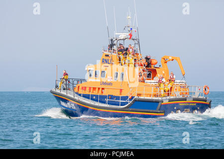 English Channel, Near Isle of Wight; 7th July 2018; Yarmouth Lifeboat Under Way Near The Needles Lighthouse - Stock Photo