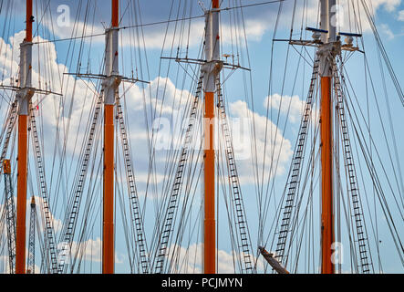Close up picture of sailing ship masts. - Stock Photo