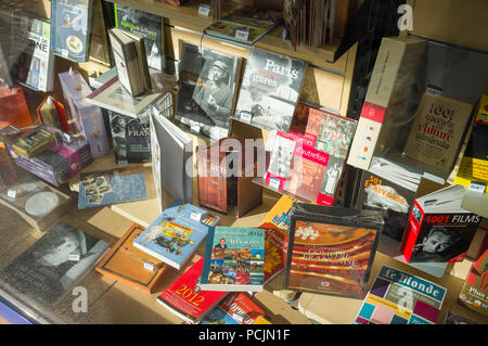 Window display in a French bookshop, Pont L'Eveque, Normandy, France - Stock Photo